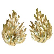 1950s Gold Earrings 14 K Leaf Flame Burning Bush Opulent High End Luxury Old Hollywood Glamour Statement Mid Century Retro Vintage Estate Unique One of a Kind Wings Dazzling Mint Large Heavy Gold Earrings Solid