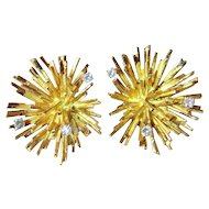 Starburst Gold Diamond Earrings 14K G VS Sparkly Luxury High End 1950s Mid Century Modernist Atomic Sputnik Space Age One of a Kind Handmade Unique Rare Exceptional Designer Chunky Statement Large Gold Earrings