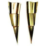 Italian Gold Designer Earrings Drop Earrings Dangle Earrings Modernist Earrings Jewelry Minimalist Earrings Jewelry Handmade 14K Gold Statement Chandelier Triangle Handmade Unique