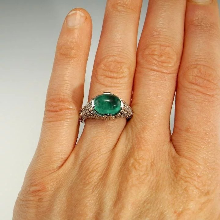 large emerald ring engagement item rings color wedding cabochon natural diamond full