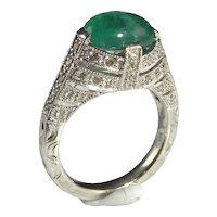 Large Natural Emerald Cabochon Diamond Ring 14K White Gold Vintage Big Emerald Birthstone Color Engagement Unique Wedding