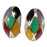 Diamond Jadeite Jade Earrings 14K Gold Onyx Earrings Multicolor Lavender Red Imperial Green Black Yellow Statement Multistone Multigem Unique Cocktail Dress Fine Luxury Harlequin