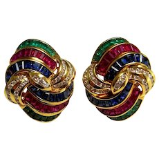 VIVID 1950s Natural Ruby Emerald Sapphire Diamond 18K Earrings Omega Clip Yellow Gold Dome Earrings Swirl Earrings Red Ruby Earrings Luxury