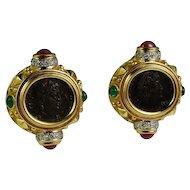 Luxurious Bold Dramatic Custom Made 18K Ruby Emerald Diamond Ancient Coin Earrings circa 1980