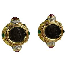 Luxurious Bold Dramatic Custom Made 18K Ruby Emerald Diamond Ancient Coin Earrings circa 1980