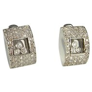 Floating Diamonds Gold Earrings Kinetic 18K Modernist Luxury High End Wedding Jewelry Bridal Jewelry Elegant Classic Anniversary Fine Sparkly D VS Pave