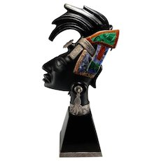 Maya 1950s Jeweled Bust Lord Pacal Palenque Obsidian Sculpture Sterling Silver Inlay Malachite Sodalite Jasper Mid Century Sculpture