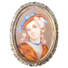 Georgian 1830s 18K Gold Rose Cut Diamond Miniature Portrait Pin Brooch Antique Portait Something Blue Heirloom Jewelry Handmade One of a Kind