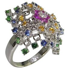 Designer Flexible Gemstone Mesh Ring Ruby Sapphire Emerald Diamond in 18K White Gold Handmade Vintage Modernist Kinetic Motion Spinning Cocktail Statement Pretty Magic One of a Kind Unique