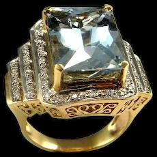 HUGE BIG Aquamarine Diamond Ring Estate Aquamarine Ring 14K Gold Filigree Vintage Emerald Cut One of a Kind Color Engagement Wedding 1960s 1970s Mid Century Aquamarine Statement Ring