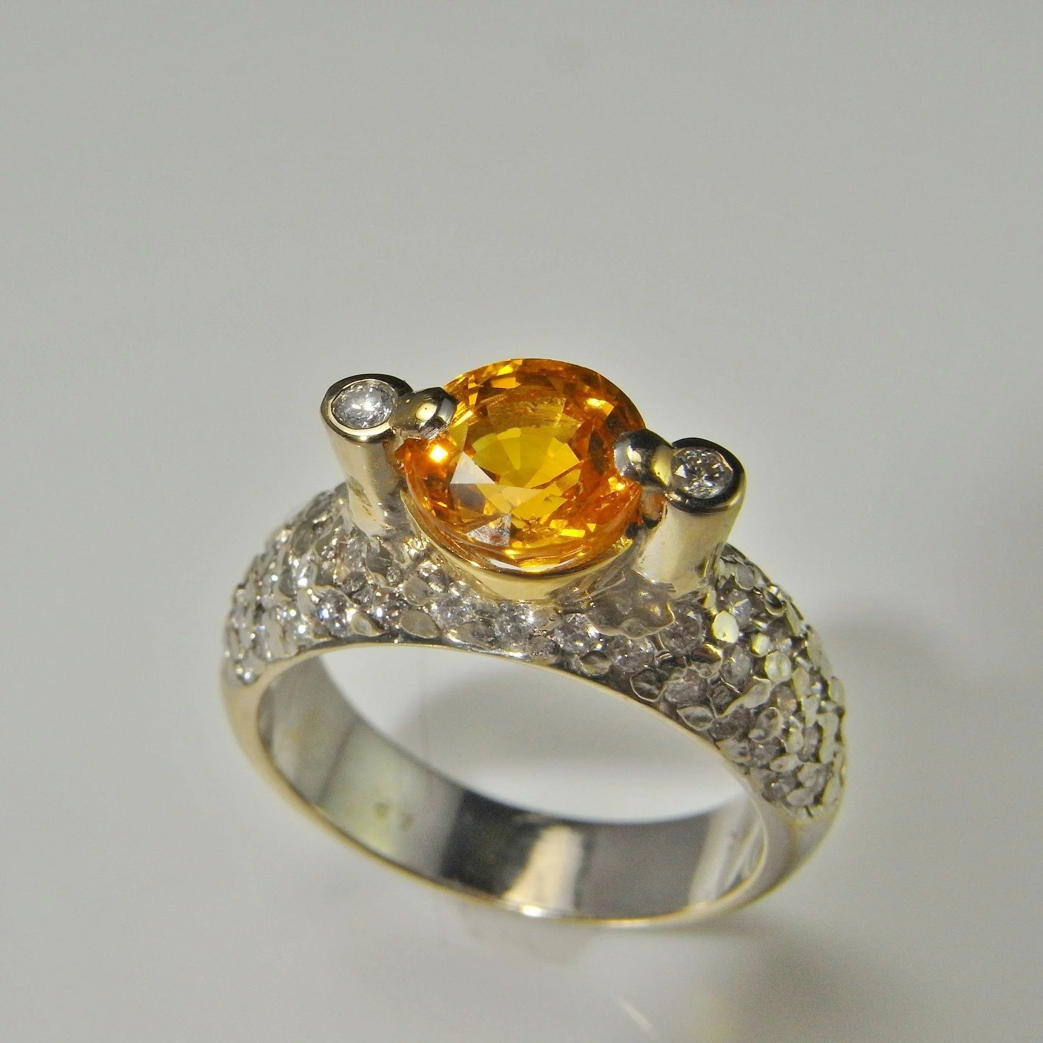 at b engagement ring yellow trapezoid id three master diamond j sapphire stone rings orange emerald cut jewelry