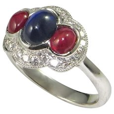 Retro Classic 1930s 1920s Art Deco Cabochon Sapphire Ruby and Diamond 18K Engagement Ring Wedding Ring One of a Kind Handmade Modernist Cocktail Cluster Dress Ring Natural Ruby Natural Sapphire old cut Great Gatsby Downton Abbey