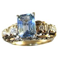Sapphire Art Deco Engagement Ring Wedding Ring 14K Yellow Gold  Custom Unheated Natural Sapphire Baguette Emerald Cut 1920s 1930s 1940s Handmade One of a Kind Anniversary Band Unique Downton Abbey Great Gatsby