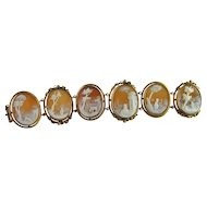 Antique Victorian 1870s Finest Quality Figural Scenic Shell Cameo Bracelet in 14K Yellow Gold