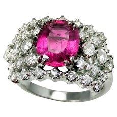 Pink Tourmaline Engagement Ring Pink Tourmaline Ring 18K Gold Ring Diamond Engagement Ring 1950s Engagement Ring Wedding Ring Wedding Band