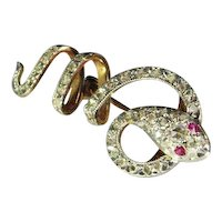 DIAMOND SNAKE SERPENT BROOCH ANTIQUE Victorian No Heat Ruby Rubies 18K Gold Pin Brooch 19th Century Rose Cut Hand Made Animal Jewelry circa 1840