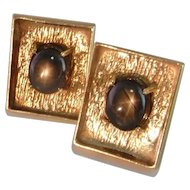 Men's Gold Cufflinks Star Sapphire 14K 1950s Modernist  Retro Solid Gold Mid Century