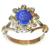 Victorian Sapphire Diamond Engagement Ring Wedding Ring Ceylon Sapphire Vivid Gem Blue Sapphire Crown Cluster 19th Century Cornflower Blue Unheated Pretty Antique Pre Edwardian Rare Unique Handmade One of a Kind Color Engagement Dainty 18K Gold