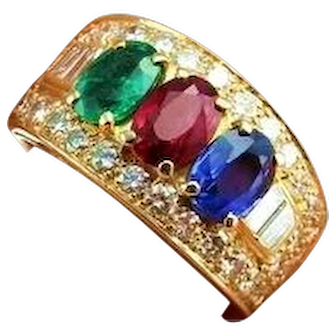 Bvlgari Bulgari 18K Gold Ring Diamond Ring Ruby Ring Ruby Diamond Ring Sapphire Ring Sapphire Diamond Ring Emerald Ring Cigar Band Ring 750 Gold Color Engagement Ring Wedding Ring Anniversary Ring Wedding Band Designer Jewelry