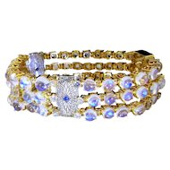 Art Deco Diamond Bracelet Sapphire Bangle Rainbow Moonstone Bracelet Wide Bangle Filigree Lace 14K Yellow Gold Downton Abbey Great Gatsby 1920s 1930s 1940s Wedding Heirloom Bridal Cabochon Anniversary Luxury High End Exceptional Rare