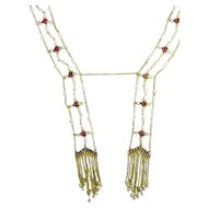 Victorian 1870s Ruby Sapphire Pearl 14K Yellow Gold Negligee Necklace 19th Century Festoon