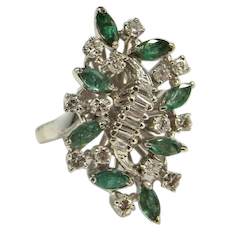 1950s Natural Emerald Diamond Cluster Ring 14K Gold Handmade One of a Kind Cocktail Unique Engagement Dress Wedding Mid Century Spray Floral Large Rings