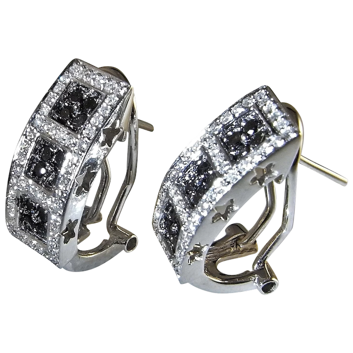Luxurious White And Black Diamond Earrings 18k White Gold Estate Fancy The Genuine Article Jewelry Ruby Lane