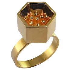 Jens Asby Retro circa 1960 18K yellow gold hand made modernist style Dress Cocktail ring