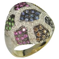 Fancy Color Diamond Ring and Sapphire Luxurious solid 18K Gold Cocktail Ring Pink Sapphires Champagne Diamonds Black Diamonds Sapphires Chunky Ring Large Ring Multicolor Camouflage Cocktail Dress One of a Kind Unique Vintage Dome Bombe