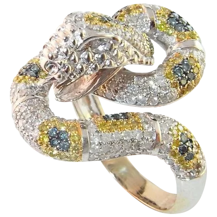 fb5de456bf874 Color Diamond Snake Ring 14K Gold Fancy Diamond Snake Ring Blue Yellow  Fancy Diamonds Pave Set Sparkly Rare One of a Kind Serpent Anaconda Python  ...