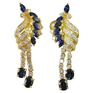 Hollywood Sapphire Diamond Earrings Large Diamond Earrings 18K Gold Diamond Drop Chandelier Dangle Large Statement Chunky Mid Century Modernist 1950s 1960s 1970s Luxury High End Natural Sapphire Rare Exceptional Wedding Bridal Jewelry