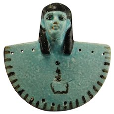 ANCIENT EGYPTIAN Faience Pectoral Aegis Isis God of Protection Goddess Middle Kingdom Heiroglyphics Royal Tomb Amulet Ancient Art Egypt Face