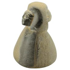 Basalt ANCIENT EGYPTIAN Middle Kingdom Hardstone God Goddess Household Statue Figurine Egypt Pectoral Wig Heiroglyphics Protection Auspicious Lucky Sculpture