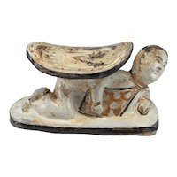 Yuan to Song Dynasty Pillow Porcelain Pillow Chinese Antiques Ancient China Cizhou Earthenware Glazed Head rest Headrest Ancient Porcelain