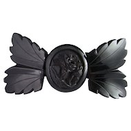 Bow Rose Laurel Leaves Whitby Jet Victorian 19th Century Bangle Bracelet Mourning 1880s.