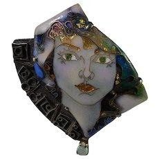 Fine Miniature Portrait Signed Spectacular Opal Enamel Vintage Sterling 14K Gold Silver Hand Made Pendant Brooch Pin