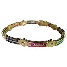 1960s Ruby Sapphire Emerald Diamond 14K Gold Bracelet Bangle Mid Century Retro
