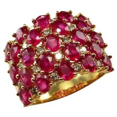 NATURAL RED RUBY Cigar Band Ruby Diamond Wedding Band 14K Yellow Gold Ruby Diamond Wedding Ring Wide Ruby Ring Estate Ruby Rings Heirloom