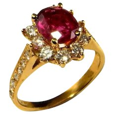 LARGE BRIGHT RED Unheated Ruby Diamond Ring No Heat Ruby Ring Ruby Engagement Ring Classic Ruby Solitaire Ring Diamond Halo Oval Cut Ruby