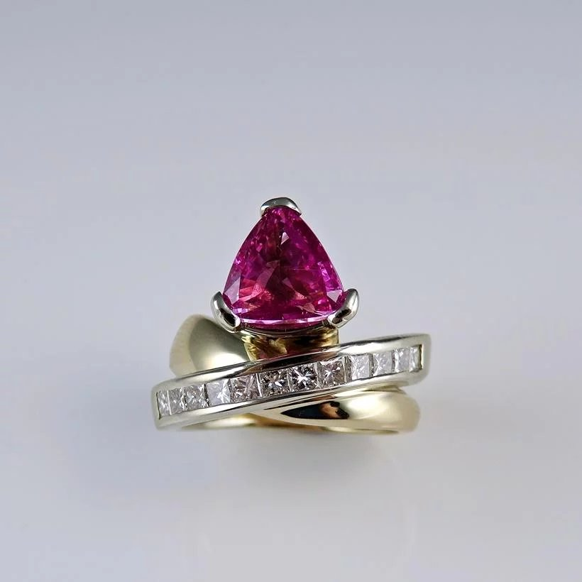 Unheated Large Natural Neon Hot Pink Sapphire Ring