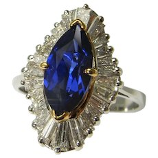Marquise Cut Vivid Blue Gem Sapphire Diamond Engagement Ring Wedding Ring Anniversary Ring 18K Gold Ballerina Solitaire Cluster Natural Sapphire Mid Century 1950s 1960s 1970s Luxury Heirloom High End One of a Kind Marquise Engagement Color