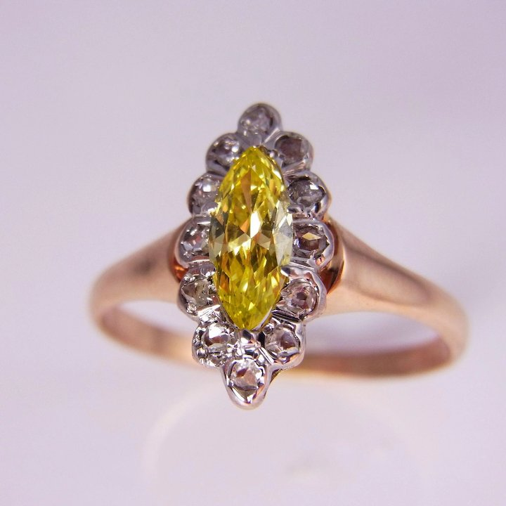 Late Georgian Early Victorian Canary Diamond Engagement Ring Yellow ...
