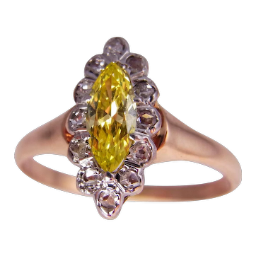 Late Georgian Early Victorian Canary Diamond Engagement Ring Yellow Diamond Engagement Ring Rose Cut Diamond Engagement Ring Antique Engagement Ring Victorian 18K Yellow Gold