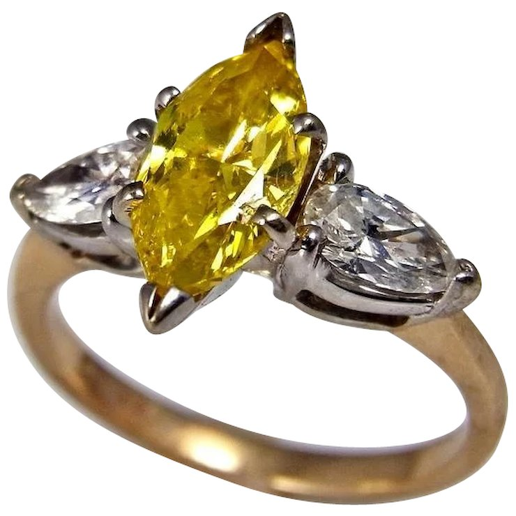 diamond canary ring ctw yellow vintage amazing collection z y cut cushion engagement rings