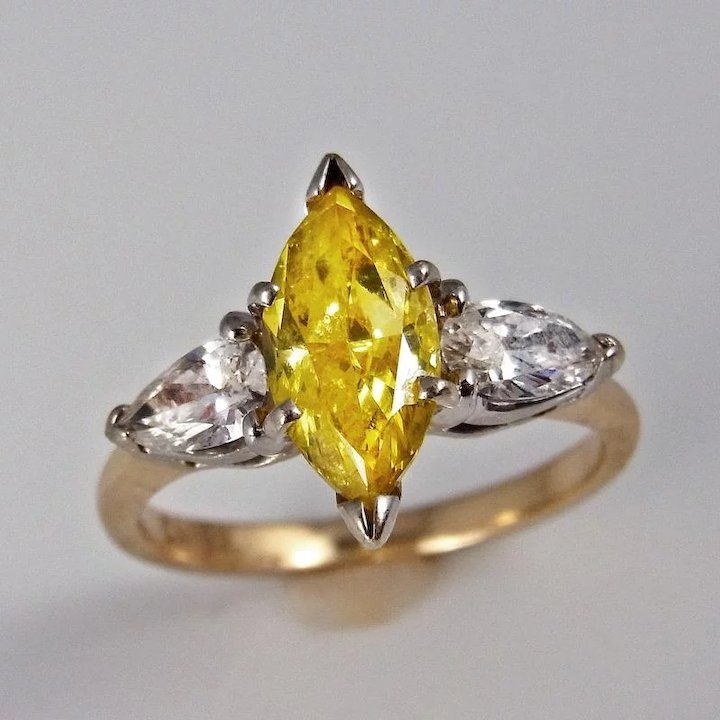 heart canary rings final engagement fancy gorgeous yellow gold natural diamond ring white unique