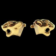 1970s Panther Cat Leopard Gold Cuff Links Cufflinks Mens Jewelry Retro Animal Luxury Cufflinks Mid Century