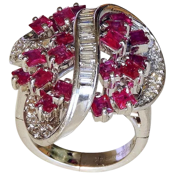 bcb76ca4ebaa7 AMAZING Ruby Diamond Cocktail Ring 1950s Ruby Ring 1950s Diamond Ring 14K  White Gold Diamond Cluster Ring Ruby Cluster Ring One of a Kind Fingermate  ...