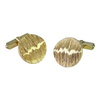 1970s Modernist Mens Cuff Links Circular Geometric Abstract 10K Yellow Gold Unique Wedding Mid Century Luxury One of a Kind