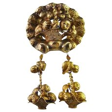 Exceptional 1870s 14K Solid Gold Earrings and Pin Set Demi Parure Victorian 19th Century Fruit Flower Basket