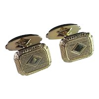Art Deco Antique Gold Cuff Links Cufflinks Mens Groom Wedding Geometric Machine Age Handmade One of a Kind Classic Accessories